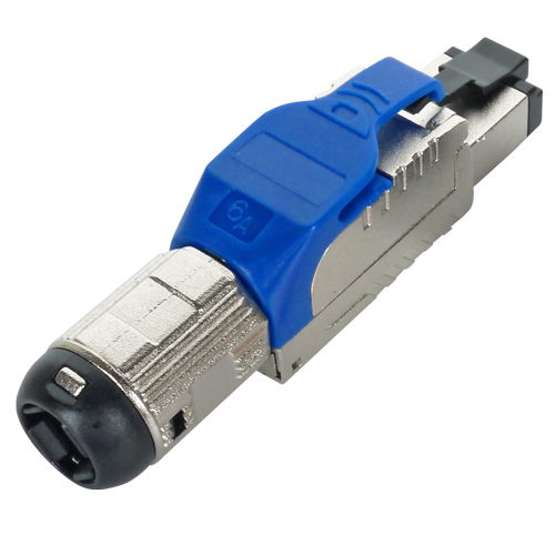 Cat6a RJ45 FTP Field Termination Plug with Blue Latch