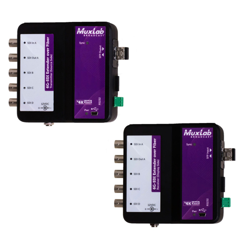 Muxlab 6G - SDI Extender Over Fibre Optic With Return Channel