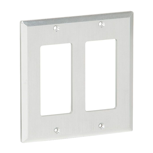 Muxlab Brushed Aluminium Decor 2 Gang Front Plate for M500455-TX