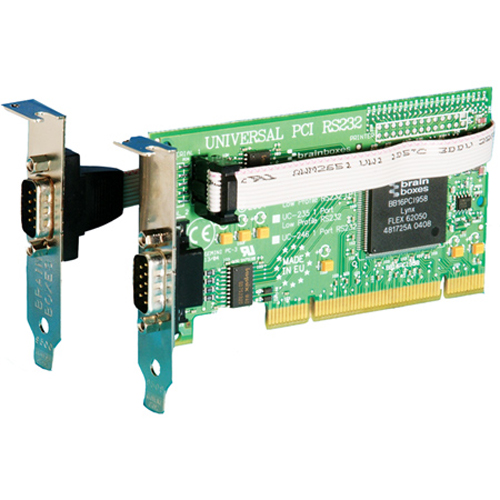 Brainboxes 1 + 1 x RS232 LP Universal PCI Serial Card